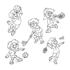 Basketball, tennis, floorball, soccer, badminton, kids playing team sports, set of black and white icons