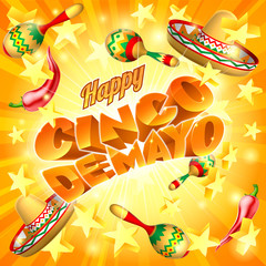 A Cinco de Mayo Mexican holiday party themed background with straw hats maracas and red peppers