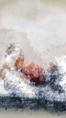 Abstract Artistic High Resolution Digital Watercolor Painting of Clouds with Vivid Red, Orange and Black Colors on Realistic Paper Texture for Design Projects.