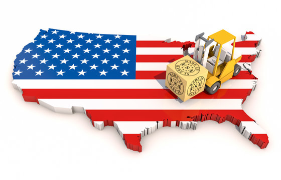 Made in USA, with USA Map. 3D Illustration