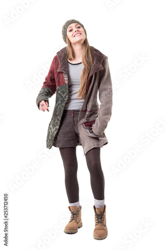 Cool Funky Candid Young Hipster Girl In Stylish Warm Winter