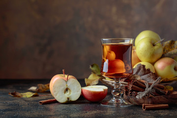 Glass of apple juice or cider with juicy apples and cinnamon sticks.