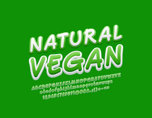 Vector stylish Sign Natural Vegan. Playful Alphabet Letters, Numbers and Symbols. Bright original Font.