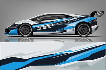 Fototapete - Sport car racing wrap design. vector design. - Vector