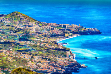 Wall Mural - Cityscape panorama of Camara de Lobos. Aerial view from the highest Cabo Girao, Madeira island, Portugal