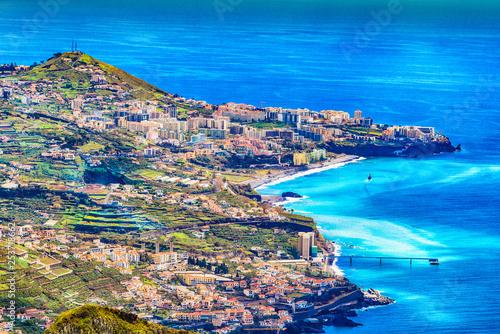 Wall mural Cityscape panorama of Camara de Lobos. Aerial view from the highest Cabo Girao, Madeira island, Portugal