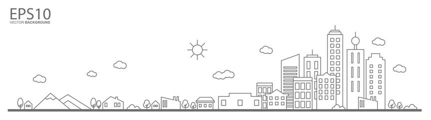 Cityscape. Landscape flat design concept. Fototapete