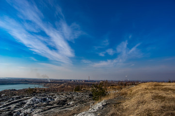 Panorama of the industrial zone from an abandoned career