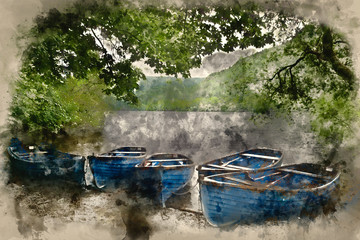 Watercolour painting of Old fashioned retro style rowing boats on shore of lake in Summer