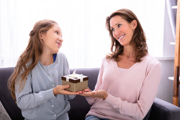 Girl Giving Gift To Her Mother