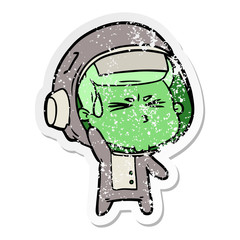 distressed sticker of a cartoon stressed astronaut