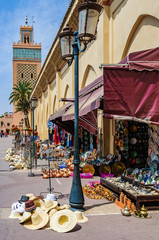 Souvenir shops in front of Moulay El yazid Mosque in Marrakech, Morocco