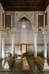 Columns in the Saadian Tombs in Marrakech, Morocco