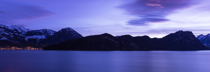 The color of the night is Royal Blue. Lucerne Lake. Vitznau