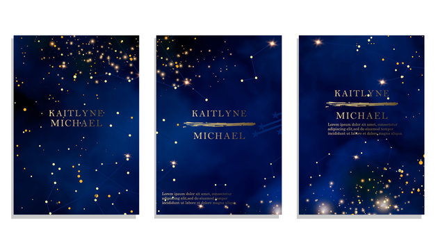 Magic night dark blue sky with sparkling stars vector wedding invitation. Andromeda galaxy. Gold glitter powder splash background. Golden scattered dust.