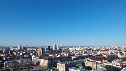 Aerial view of Minsk, Belarus near main train station