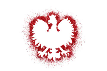 Polish coat of arms shape on red glitter Wall mural