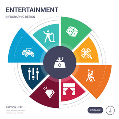 set of 9 simple entertainment vector icons. contains such as club, concert, controller, controls, crystal, curtain stage, dance icons and others. editable infographics design