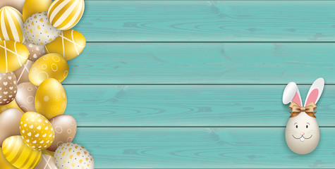 Noble Golden Easter Eggs Heap Wooden Turquoise Header Hare Ears