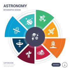 set of 9 simple astronomy vector icons. contains such as planets, pluto, pulsar, quasar, reflector, relativity, rocket launch icons and others. editable infographics design