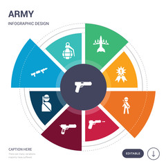 set of 9 simple army vector icons. contains such as glock, grenade, grenade launcher, guerrilla, gun, gun shooting, infantry icons and others. editable infographics design