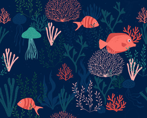 sea life vector seamless pattern background
