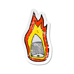retro distressed sticker of a cartoon flaming bullet
