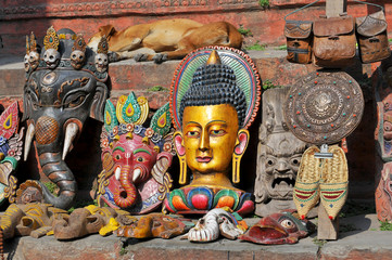 Nepal, Kathmandu, Ganesha Elephant God Head Mask and the others souvenirs on street market.