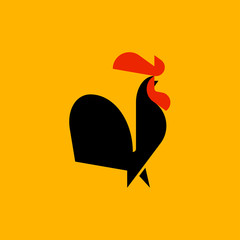Black rooster flat style vector logo template