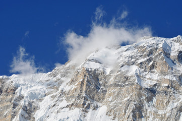Nepal, Annapurna Conservation Area, Singu Chuli (Fluted Peak) one of the trekking peaks in the Nepali Himalaya range. The peak is located just west of Ganggapurna in the Annapurna Himal.