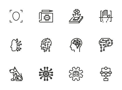 Artificial intelligence line icon set