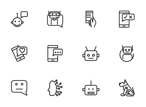 Chat bot line icon set