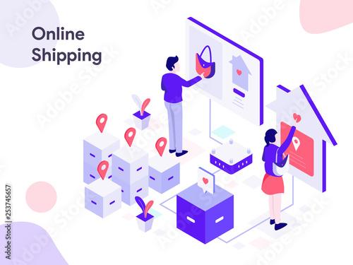 Online Shipping Isometric Illustration  Modern flat design