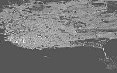 Satellite view of San Francisco, map, 3d buildings. United States. Streets and skyscrapers. Homes and urban area. 3d rendering