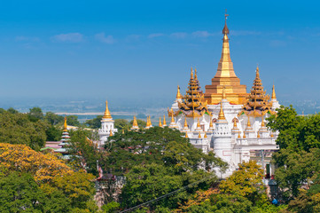 Golden pagodas is on Sagaing Hill, Myanmar. View frm the top of this hill, Myanmar.
