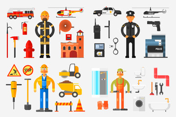 Professions Set, Fireman, Policeman, Road Worker, Plumber with Professional Equipments Vector Illustration