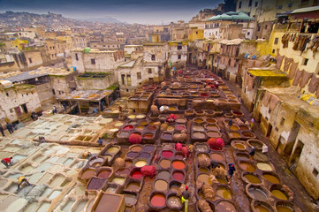 Traditional leather tanneries in the medina of Fez, Morocco, Africa.