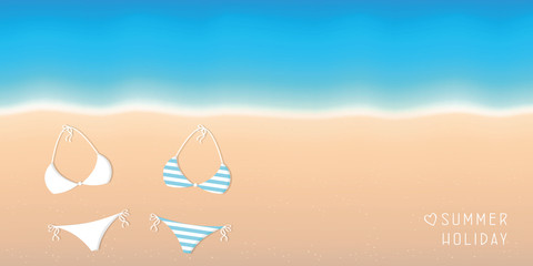 summer holiday background two bikinis on the beach with turquoise water vector illustration EPS10
