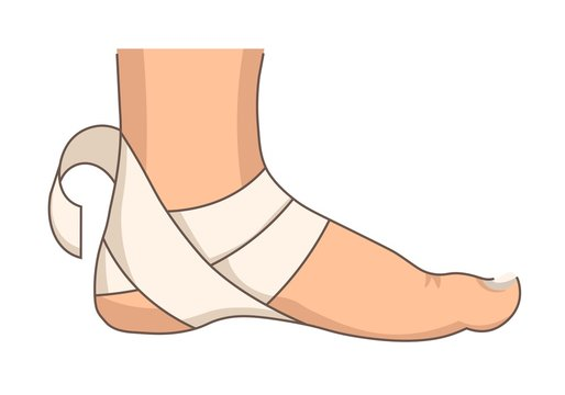 Heel bandage foot injury or stretching first aid bandaging