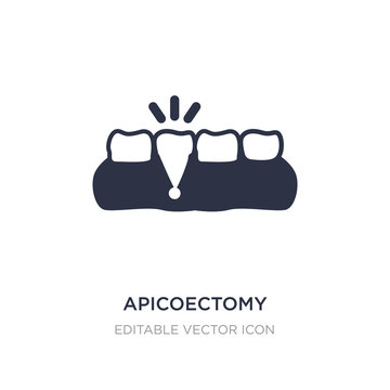 apicoectomy icon on white background. Simple element illustration from Dentist concept.