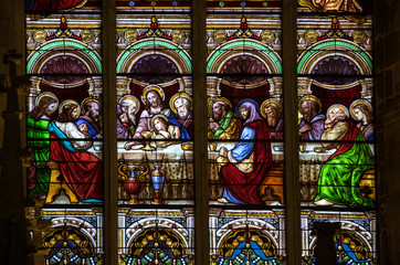 Last Supper - Stained glass window at the Collegiale church of Saint Emilion, France