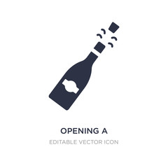opening a champagne bottle icon on white background. Simple element illustration from Food concept.