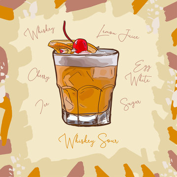 Whiskey Sour Contemporary classic cocktail illustration. Alcoholic bar drink hand drawn vector. Pop art