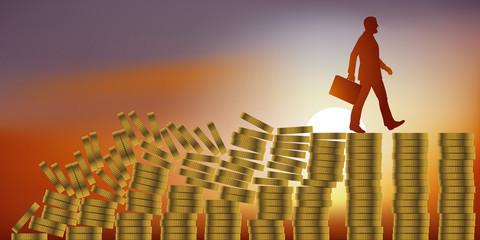 Concept de la faillite et du krach boursier, avec un homme qui marche tranquillement sur des piles de pièces de monnaie, sans voir que tout le système financier s'écroule derrière lui et va le conduir