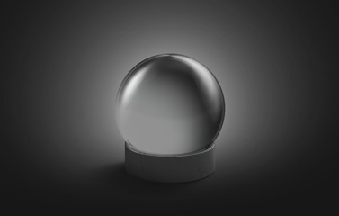 Blank black crystal magic ball mock up, isolated on dark background, 3d rendering. Empty oracle teller mockup. Clear acrylic globe for predict or new year gift design template.