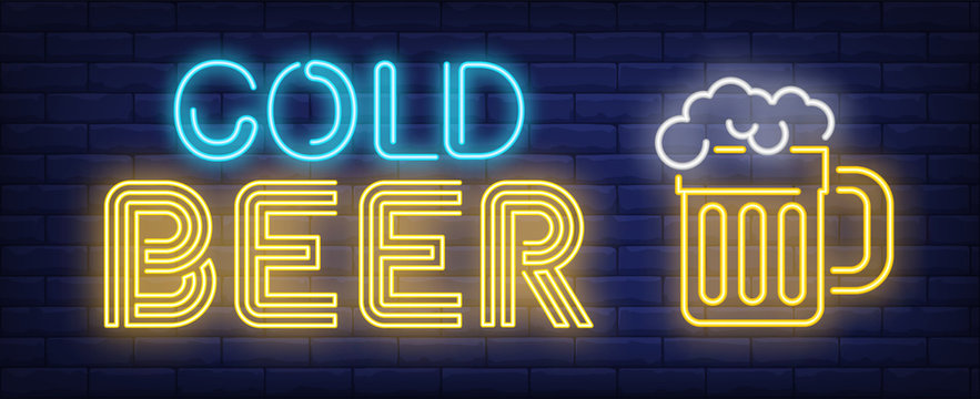 Cold beer neon sign. Beer mug with froth