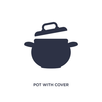pot with cover icon on white background. Simple element illustration from bistro and restaurant concept.