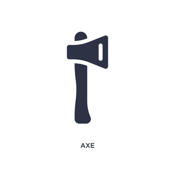 axe icon on white background. Simple element illustration from camping concept.