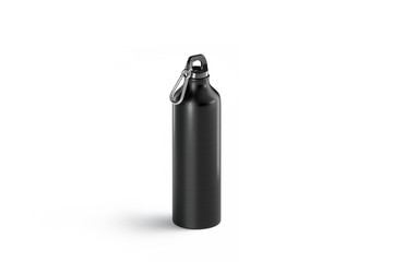 Blank black metal sport bottle mock up, isolated, side view, 3d rendering. Empty travel flask for drink mockup. Clear extreme or fitness equipment. Stainless container design template.