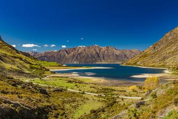 Panoramic photos of Lake Hawea and mountains, South Island, New Zealand